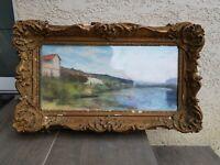 Tableau ancien aquarelle, maison au bord de rivière, signé à déchiffrer