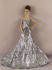 Fashion White Shining Bead Fishtail Skirt Mermaid Dress Gown For 11 in. Doll