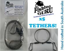 5x HEAVY DUTY ROD TETHER - Stainless Steel (Made in South Aus) for GAME FISHING