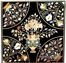 27 Inches Square Marble Coffee Table Top Inlay Center Table with Flower Design