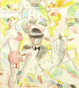 """Earl Linderman """"Joir de Vivre"""" Original Color Drawing, HAND SIGNED, SUBMIT OFFER"""
