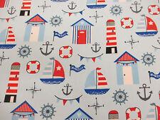 "Blue barcos, playa cabañas, anclas, ""Marina"" impreso en 100% Algodón Popelín de tela."
