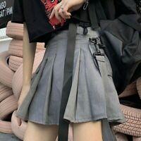 Ladies Pleated Cargo Skirt Gothic Pocket Punk Mini Japanese Buckle Black Fashion