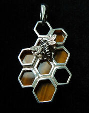 Natural Tiger's Eye Stone Sterling Silver Pendant Necklace Jewelry