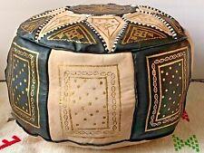 Moroccan Pouf Ottoman Boho Leather Handmade Footstool Black 100% Genuine