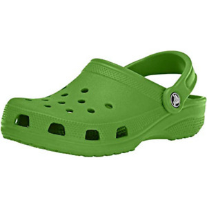 Crocs 10001 Unisex Parrot Green Rubber w/ Rubber  Sole Slip On Water Shoes US 7