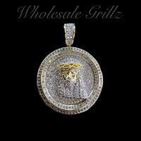 NEW 14K Gold gp iced JESUS FACE Hip Hop Pendant Simulate Diamond out MICRO Charm