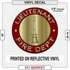 Lieutenant Rank Decal Firefighter Fire Department Insignia FD Sticker Lt    S 26