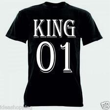 T-shirt uomo maglia bianca o nera con scritta KING 01