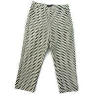 M&S Size 10 Cream Black White Cropped Capri Slim Trousers Summer Holiday