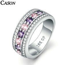 Gold Band Ring Jewelry Gift 6-9 Colorful Cubic Zirconia Rings Fashion 18K White