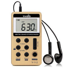 Tivdio Portable Mini Pocket Fm/Am 10Khz Radio Receiver Earphone Tuning Step Us