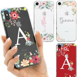 Personalised CLEAR OPAQUE FLORAL Font Phone Case Cover for iPhone Samsung Range