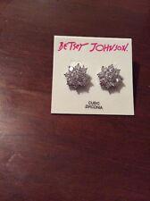 Flower Stud Earrings #95 $35 Betsey Johnson Clear Stone
