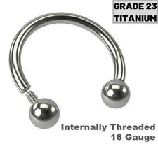 16G GRADE 23 TITANIUM INTERNALLY THREAD HORSESHOE NOSE SEPTUM TRAGUS RING