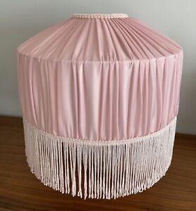 Vintage 80's Retro Fringed Lampshade Pink