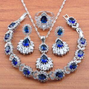 luxurious 925 sterling silver jewelry sets blue sapphire women wedding jewelry