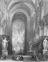 Toulouse BASILICA OF SAINT-SERNIN CHURCH ~ 1865 Architecture Art Print Engraving