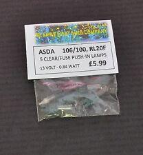 ASDA 106/100 RL20F 13 VOLT 0.84 WATT CLEAR PLUS FUSE SPARE BULBS 5 PACK (0019)