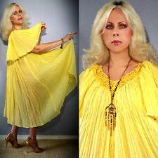 Vtg 70s Philhellen Grecian Sheer Gauze Lace Embroidered Hippie Drape Maxi Dress