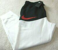 Nike Sportswear Mens Fleece Swoosh Jogger Pants White Black Red Tapered Leg NWT