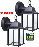 CORAMDEO Outdoor LED Wall Sconce Light - Durable Cast Aluminum 2 Pack