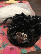"2 ""GUESS"" Black Drawstring Quilted Patent Leather Storage Pouch Bag For Jewelry"