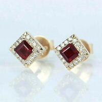 1.20 Ct Princess Cut Ruby and Diamond Halo Stud Earrings 14k Yellow Gold Finish