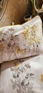 Hydrangea floral ochre embroidered super king duvet set and cushion RRP£65