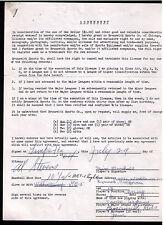 1964 James Alan Jim Marshall SIGNED equipment contract 1964-69 Minor Leaguer