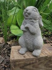 "8 1/2"" Tall Cement Bunny Rabbit Sitting Up Garden Art Concrete Statue"