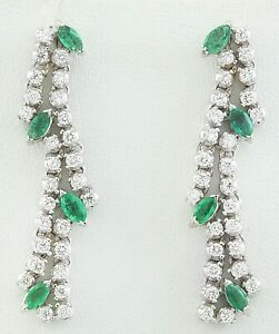 3.00 Carat Natural Emerald 14K Solid White Gold Diamond Earrings