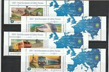 More details for romania 2021 stamps trains european year rail travel set labels mnh post map