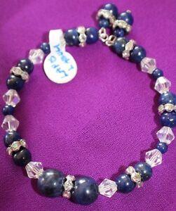 Lapis Lazuli Gemstone Bracelet Beads Memory Wire Austrian Crystals, Rhinestones