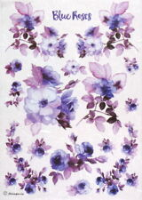 Rice Paper for Decoupage Scrapbook Craft Sheet - Painted Flower Purple