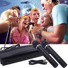 Wireless Microphone System DJ Karaoke Dual Handheld + 2 x Mic Cordless Receiver