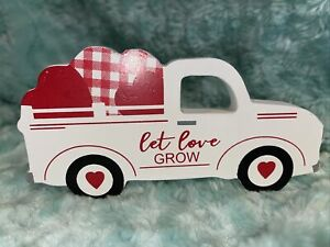 "New! ""LET LOVE GROW"" Wood WHITE Truck Sign Farmhouse VALENTINE Hearts Tier Tray"