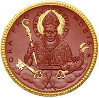 Meissen - WIEDERERRICHTUNG DES BISTUMS MEISSEN Porzellan-Medaille 1921 VERGOLDET