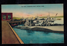 Mint USA Linen Picture Postcard Navy Submarine USS S20 Groton Connecticut Dock