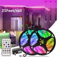 50FT LED 5050 Strip Lights Music Sync Mic APP Control Bluetooth 15M DC Full Kit