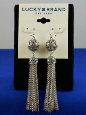 Lucky Brand Silvertone Open Floral Ball Marcasite Pave' Capped Tassel Earrings
