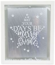 White Christmas Confetti Glass Plaque 27x32cm - May Your Days Be Merry & Bright