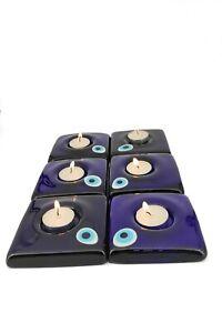 Square Evil Eye Candle Holder Set of 6 Turkish Handmade Amulet Boho Home Decor
