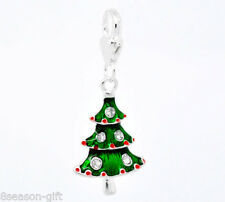 10PC Clip On Charms Fit Link Chain Bracelets Enamel Christmas Tree GIFT