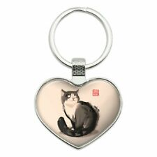 Cat Traditional Chinese Ink Painting Heart Love Metal Keychain Key Chain Ring