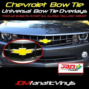 """TWO 2-5""""x11"""" Gloss YELLOW Bow Tie Emblem Overlays Decal Wrap Satin Universal KIT"""