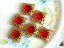 #755 Vintage Filigree Findings Charms Pendants Gold Tone Beads Connectors Square