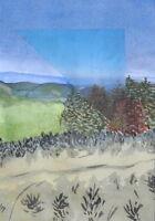 Aquarell Gemälde - Landschaft Natur Heide Collage - Kunstwerk Unikat Malerei