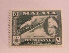 MALAYA TRENGGANU  Sc# 79 * MH, train locomotive postage stamp, Fine +