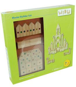 WIDU Magnetic Wooden Building Blocks, 63 Piece Master Builder Set
